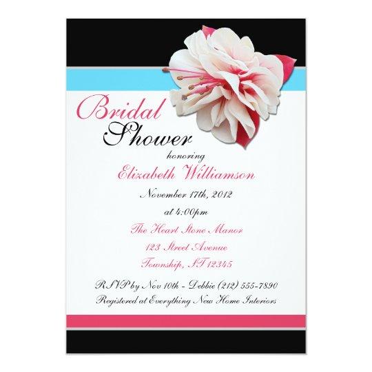 """Fuchsia Flower"" Pink Blue & Black Bridal Shower Card"