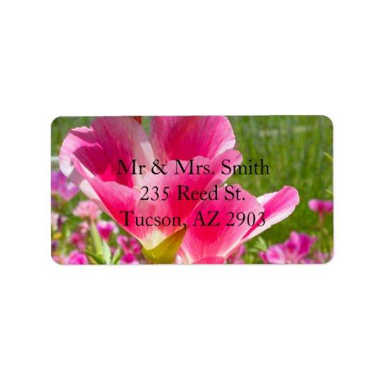 Fuchsia Flowers Label
