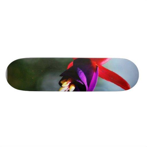 Fuchsia Flowers Purple Skateboard Deck