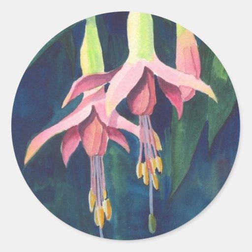 Fuchsia Flowers Round Sticker