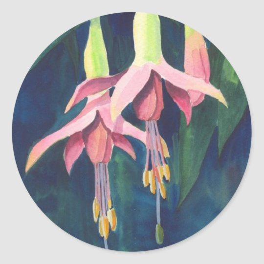 Fuchsia Flowers Round Sticker