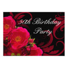 Fuchsia Garden Rose Women's 50th Birthday Party Card