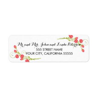 Fuchsia Garden Roses - Return Address Labels