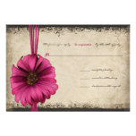 Fuchsia Gerber Daisy Wedding RSVP Personalised Announcement