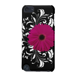 Fuchsia Gerbera Daisy with Black and White Swirl iPod Touch 5G Cover