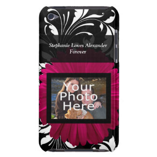 Fuchsia Gerbera Daisy with Black and White Swirl iPod Touch Cover