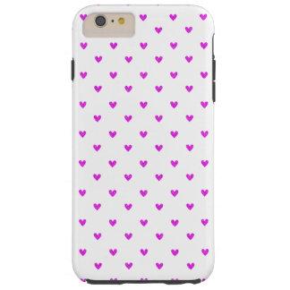 Fuchsia Glitter Hearts Pattern Tough iPhone 6 Plus Case