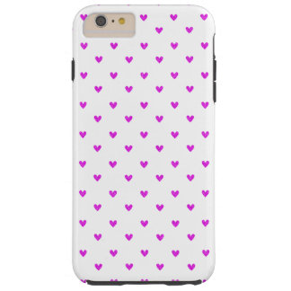 Fuchsia Glitter Hearts Pattern Tough iPhone 6 Plus Case