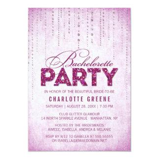 Fuchsia Glitter Look Bachelorette Party Invitation