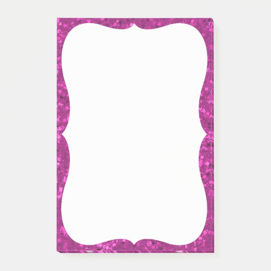 Fuchsia Glitter Look Hot Pink Sparkle Print Post-it Notes