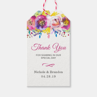 Fuchsia Gold Flowers Wedding Thank You Gift Gift Tags
