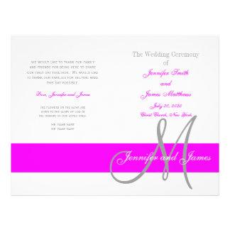 Fuchsia Gray Wedding Program | Monogram 21.5 Cm X 28 Cm Flyer