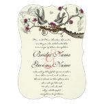 Fuchsia & Grey Vintage Birds Wedding Invite