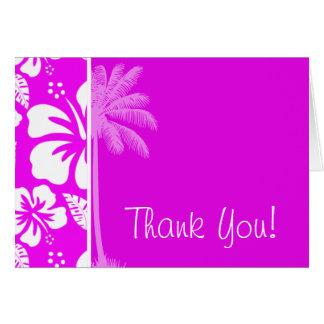 Fuchsia Hawaiian Tropical Hibiscus; Palm Card