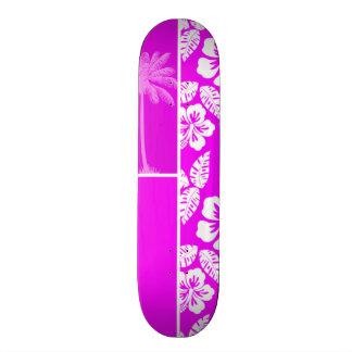 Fuchsia Hawaiian Tropical Hibiscus Palm Skateboard Decks