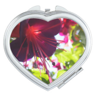 Fuchsia Heart Compact Mirror