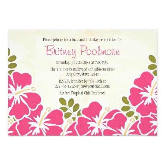 Fuchsia Hibiscus Hawaiian Birthday Party Card