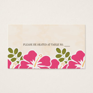 FUCHSIA HIBISCUS HAWAIIAN SEATING PLACE CARD