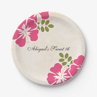 Fuchsia Hibiscus Hawaiian Sweet Sixteen Paper Plate