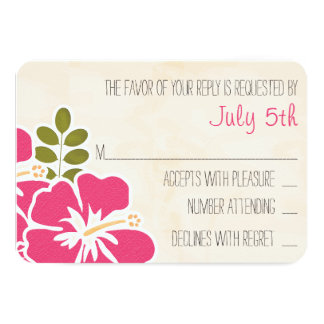 FUCHSIA HIBISCUS HAWAIIAN WEDDING RESPONSE CARD