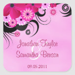 Fuchsia Hibiscus Save The Date Favour Stickers