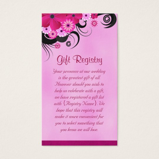 Fuchsia Hibiscus Wedding Gift Registry Mini Cards