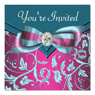 Fuchsia Hot Pink Teal Blue All Occasion Party 13 Cm X 13 Cm Square Invitation Card