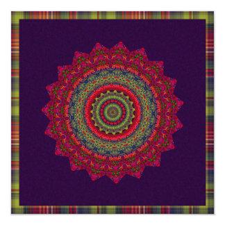 Fuchsia Kaleidoscope Mandala Custom Announcements