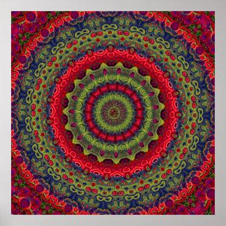 Fuchsia Kaleidoscope Mandala Posters