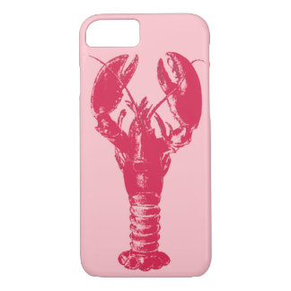 Fuchsia Lobster on Light Pink iPhone 7 Case