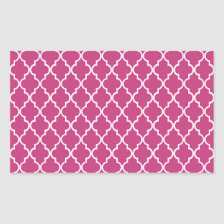 Fuchsia Magenta And White Moroccan Trellis Pattern Rectangular Sticker