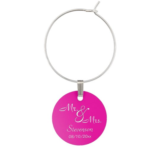 Fuchsia Mr. and Mrs. Memento Wine Charm