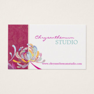 Fuchsia n White Sassy Yoga Studio Business Cards
