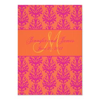 Fuchsia Orange Damask Save the Date Monogram Card