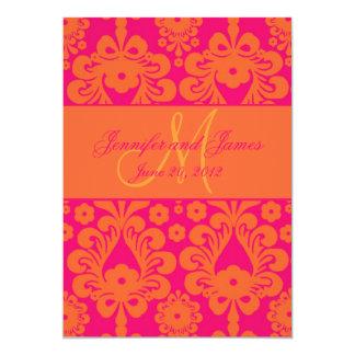 Fuchsia Orange Damask Wedding Save the Date Card