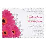 Fuchsia & Orange Gerber Daisy Wedding Invitation