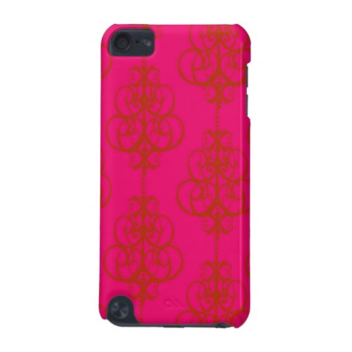 Fuchsia Orange Girly Chandelier Damask Pattern iPod Touch 5G Cases