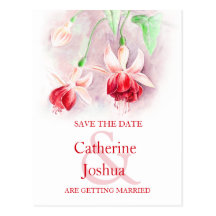 Fuchsia painted flower art red save the date card postcards