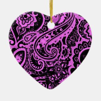 Fuchsia paisley ceramic heart decoration