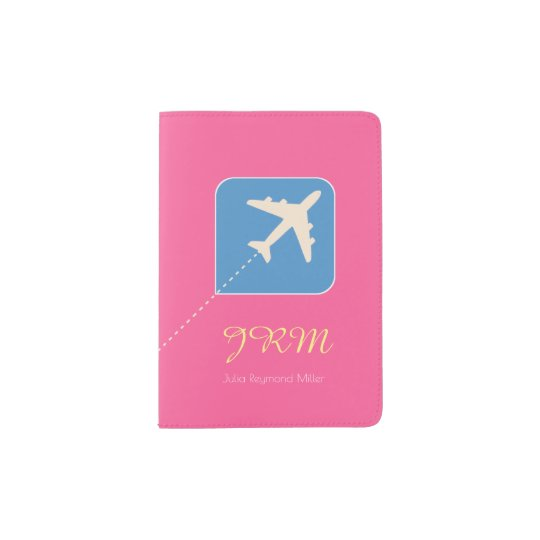fuchsia pink aeroplane travel feminine passport holder
