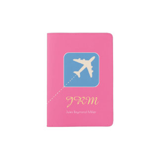 fuchsia pink airplane travel feminine passport holder