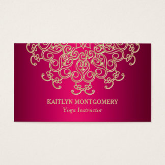 Fuchsia Pink and Gold Ornate Sunburst Mandala Business Card