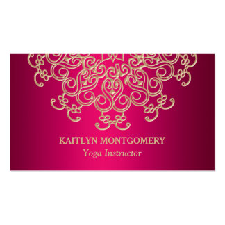 Fuchsia Pink and Gold Ornate Sunburst Mandala Pack Of Standard Business Cards