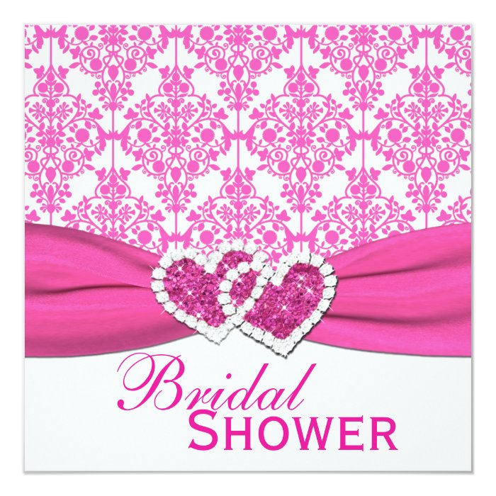 Fuchsia Pink and White Damask Bridal Shower Invite