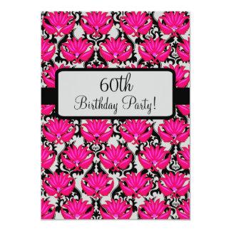 Fuchsia Pink Black Damask 60th Birthday Party 13 Cm X 18 Cm Invitation Card