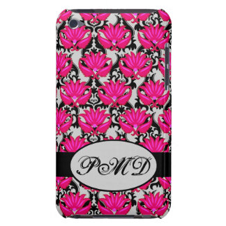 Fuchsia Pink Black Grey Parisian Damask Monogram iPod Touch Cases