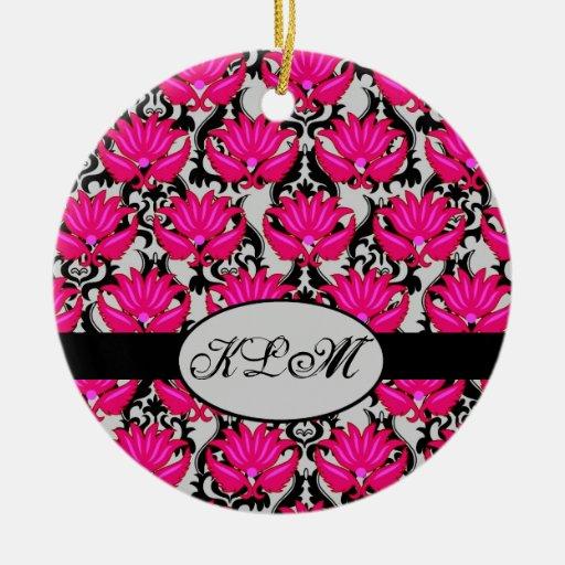 Fuchsia Pink Black Grey Parisian Damask Monogram Christmas Ornaments