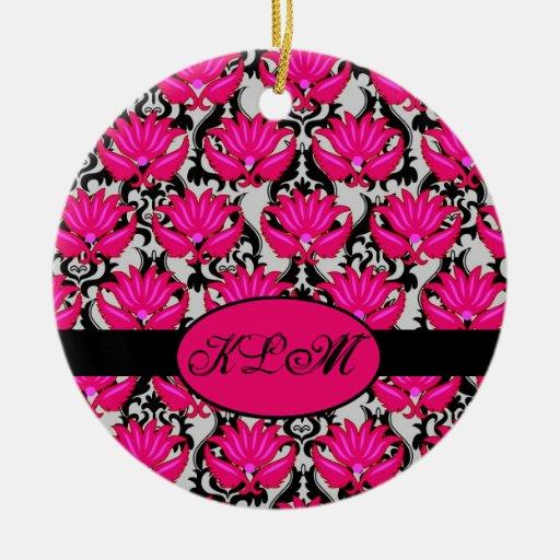 Fuchsia Pink Black Grey Parisian Damask Monogram Christmas Tree Ornaments