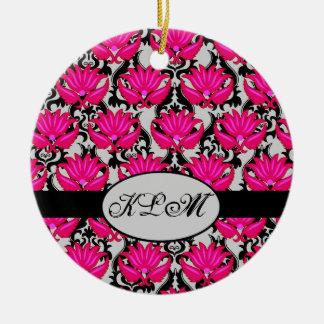 Fuchsia Pink Black Grey Parisian Damask Monogram Round Ceramic Decoration