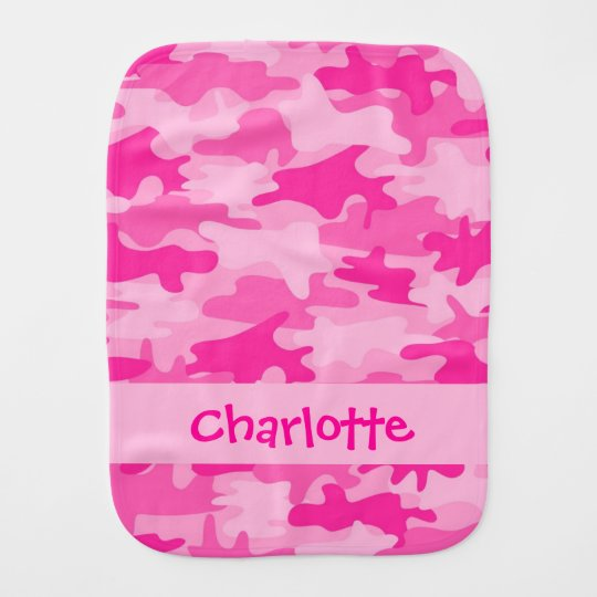 Fuchsia Pink Camo Camouflage Name Personalised Burp Cloth